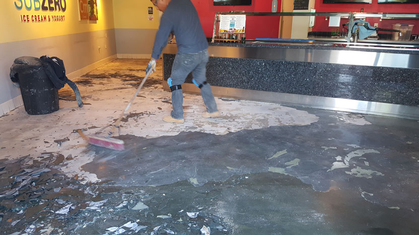 Photo of a floor before an epoxy finish is applied