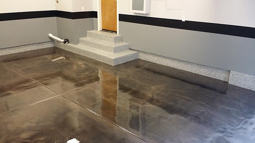 Photo of a floor with a Lava Flow epoxy finish