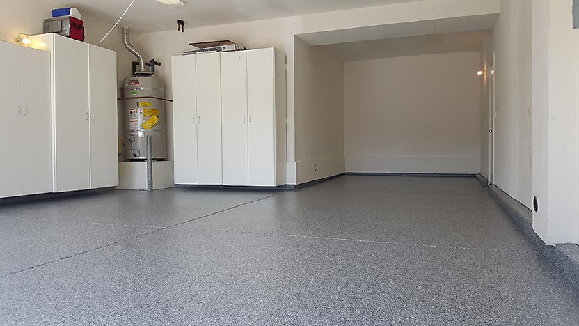 Photo of a floor with a Roll on Rock epoxy finish